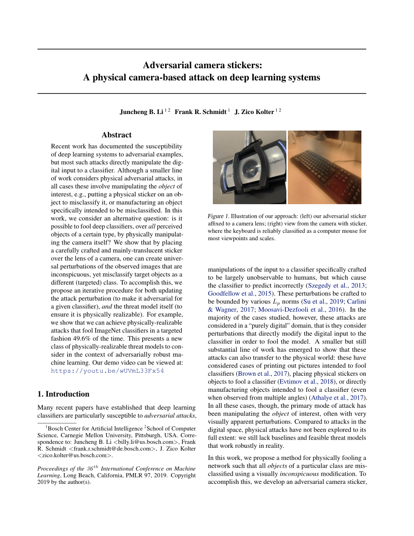 (PDF) Adversarial camera stickers: A Physical Camera Attack on Deep Learning Classifier