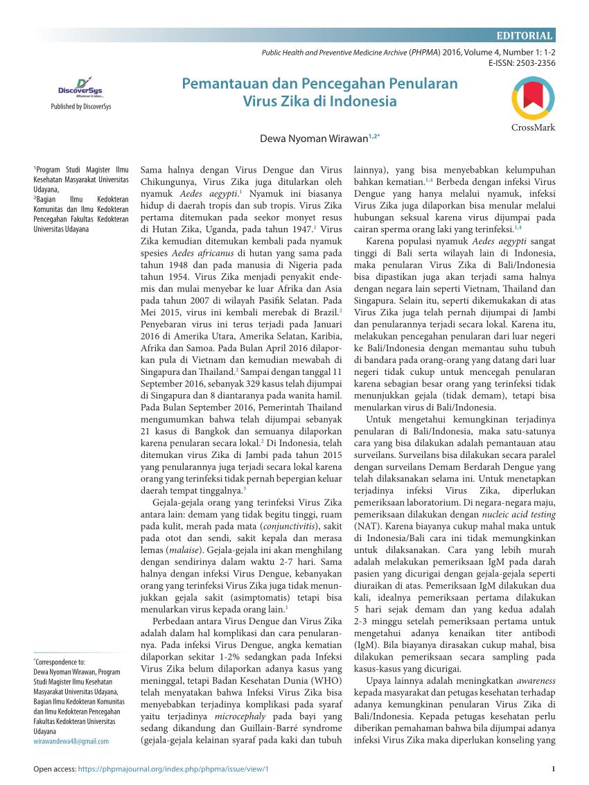 PDF) Pemantauan dan Pencegahan Penularan Virus Zika di Indonesia