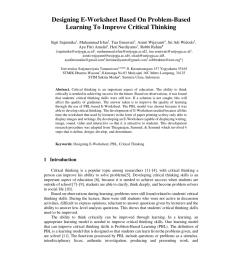 PDF) Designing E-Worksheet Based On Problem-Based Learning To Improve  Critical Thinking [ 1203 x 850 Pixel ]