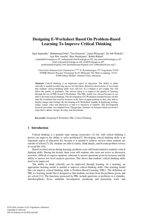 small resolution of PDF) Designing E-Worksheet Based On Problem-Based Learning To Improve  Critical Thinking