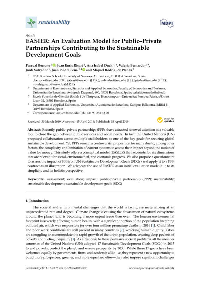 PDF) EASIER: An Evaluation Model for Public–Private Partnerships