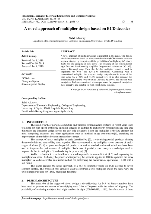 small resolution of  pdf a novel approach of multiplier design based on bcd decoder