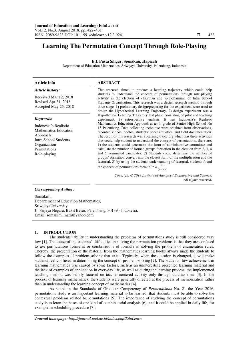 medium resolution of PDF) Permutations Learning Via Role Playing