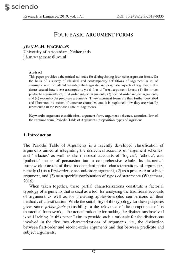 PDF) Four Basic Argument Forms