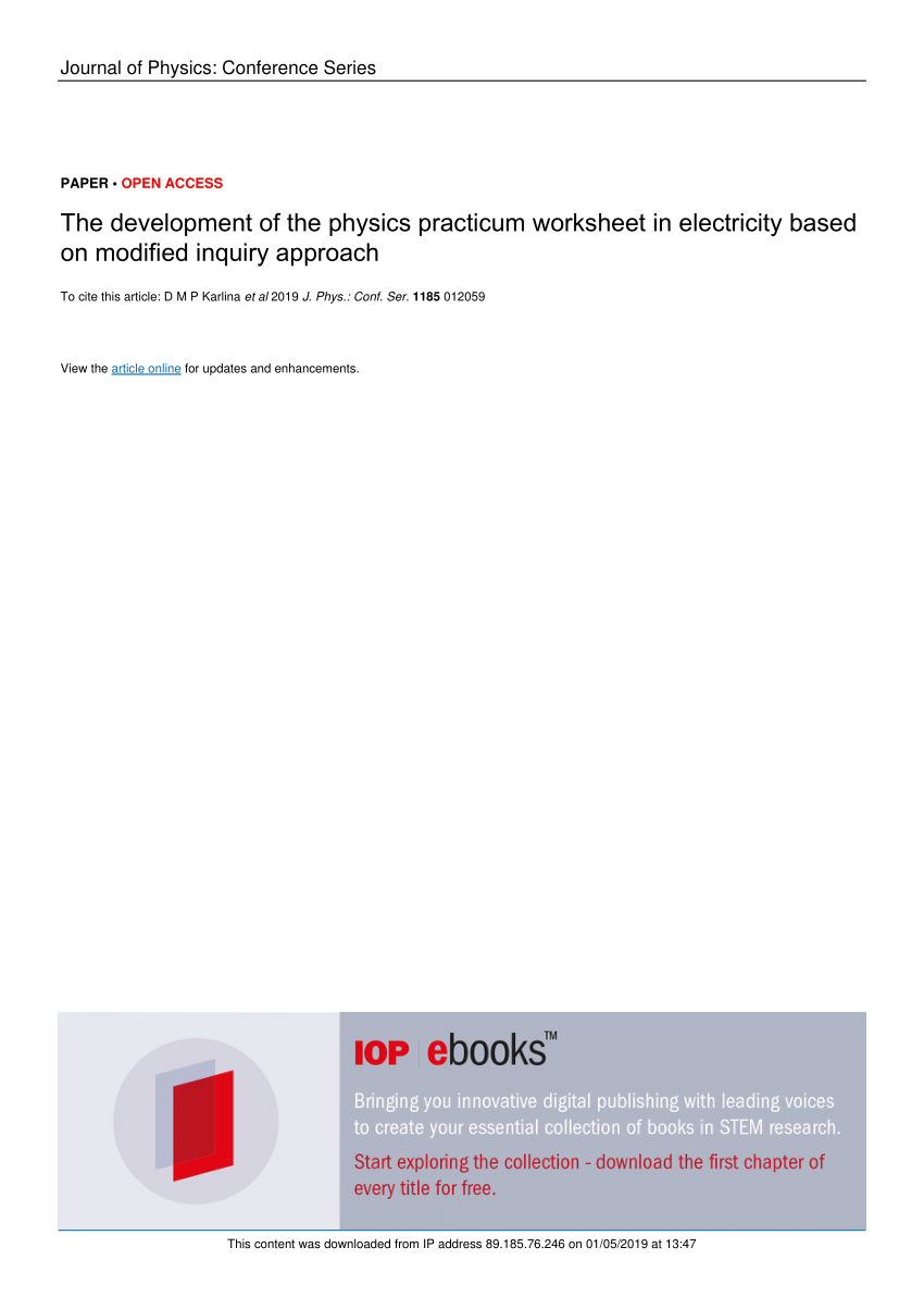 hight resolution of PDF) The development of the physics practicum worksheet in electricity  based on modified inquiry approach