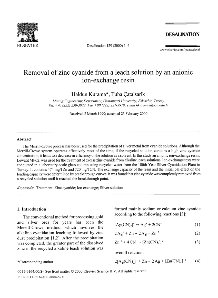 hight resolution of  pdf removal of zinc cyanide from a leach solution by an anionic ion exchange resin