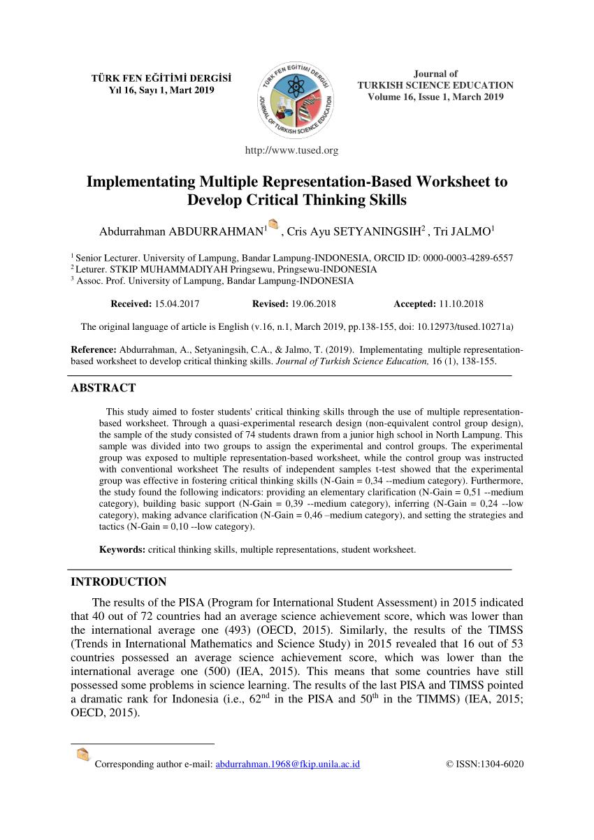 medium resolution of PDF) Implementating Multiple Representation-Based Worksheet to Develop  Critical Thinking Skills