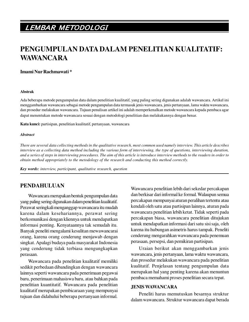 Jurnal Teknik Pengumpulan Data Pdf : jurnal, teknik, pengumpulan, Pengumpulan, Dalam, Penelitian, Kualitatif:, Wawancara