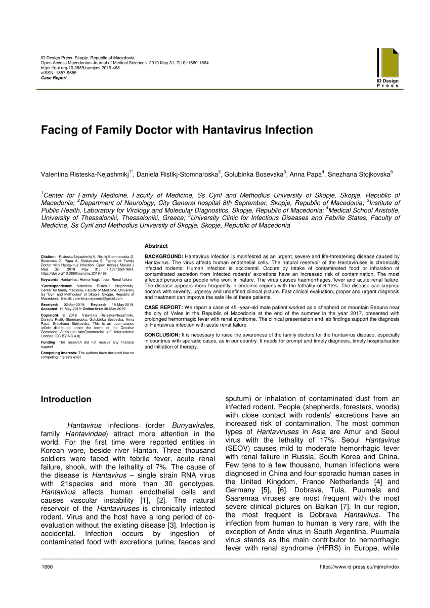 PDF) Facing of Family Doctor with Hantavirus Infection