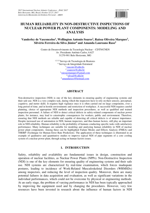 small resolution of  pdf human reliability in non destructive inspections of nuclear power plant components modeling and analysis