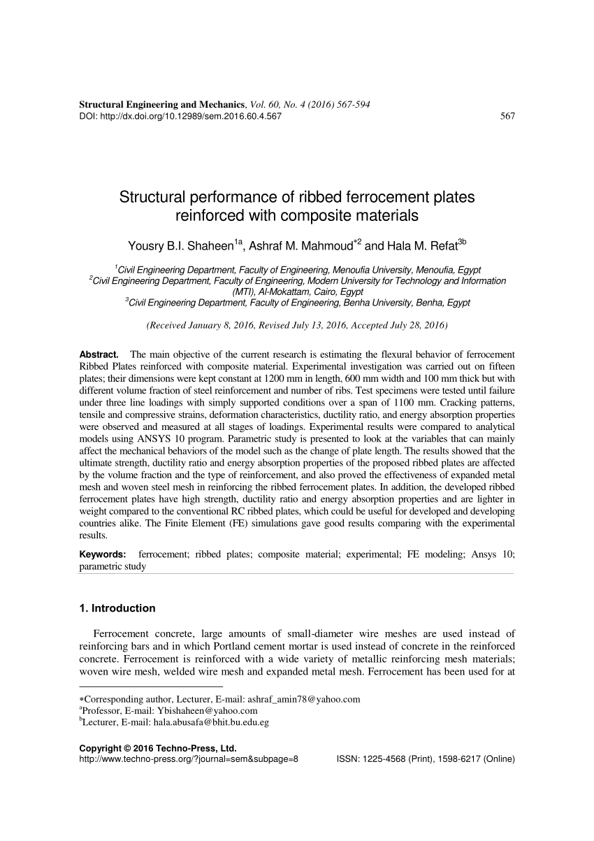 medium resolution of  pdf structural performance of ferrocement beams reinforced with composite materials