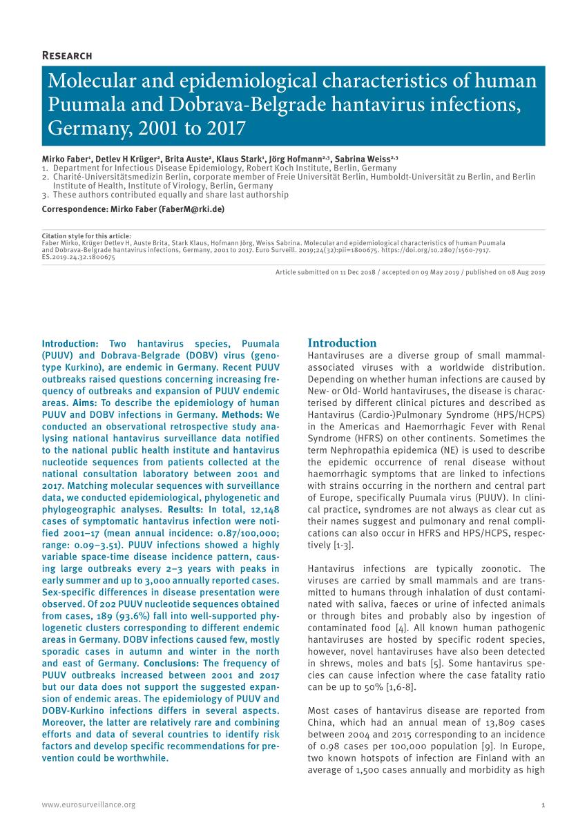PDF) Molecular and epidemiological characteristics of human ...