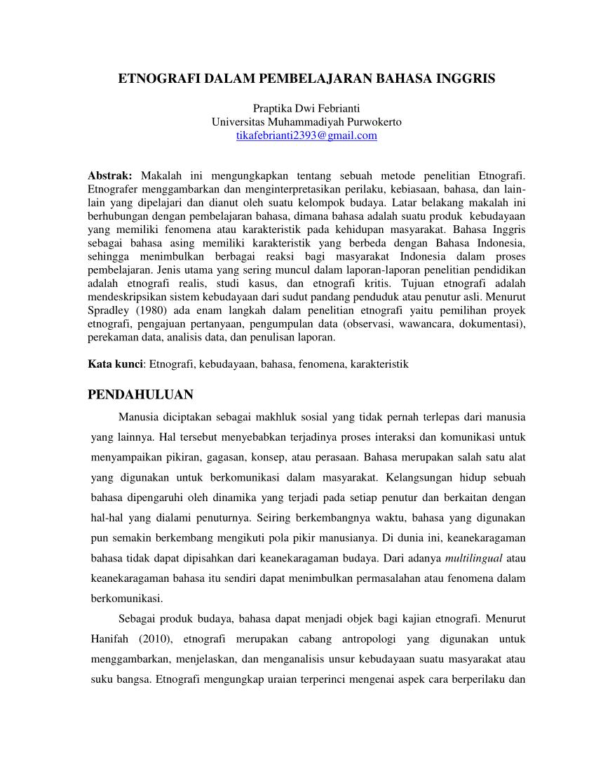 Contoh Penelitian Etnografi : contoh, penelitian, etnografi, ETNOGRAFI, DALAM, PEMBELAJARAN, BAHASA, INGGRIS