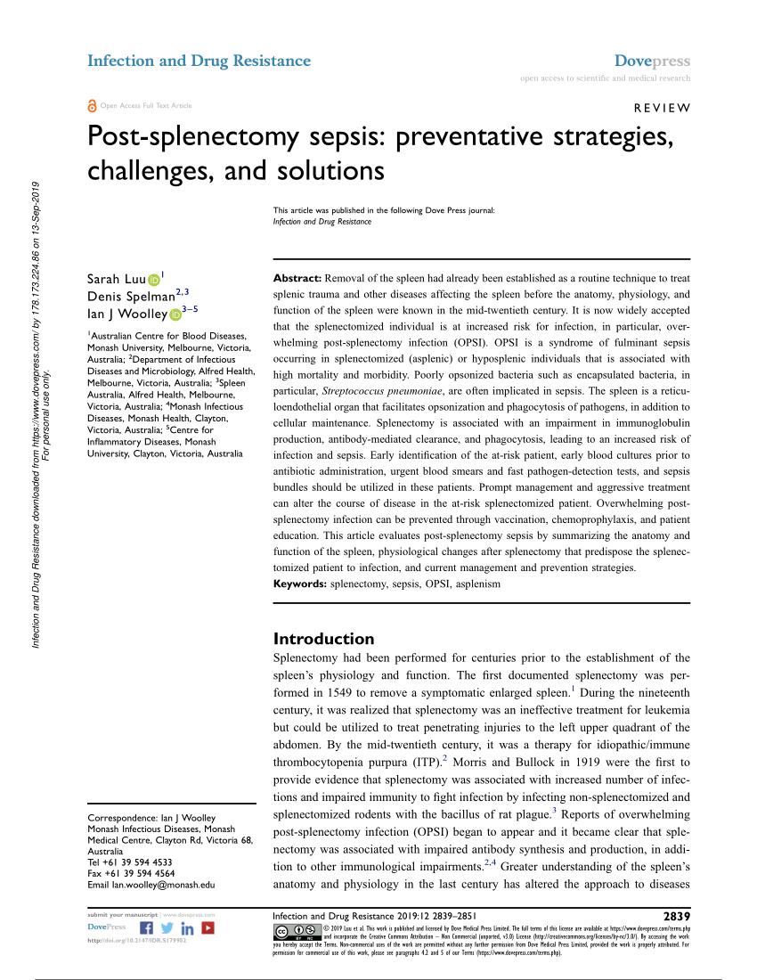 (PDF) Post-splenectomy sepsis: preventative strategies. challenges. and solutions