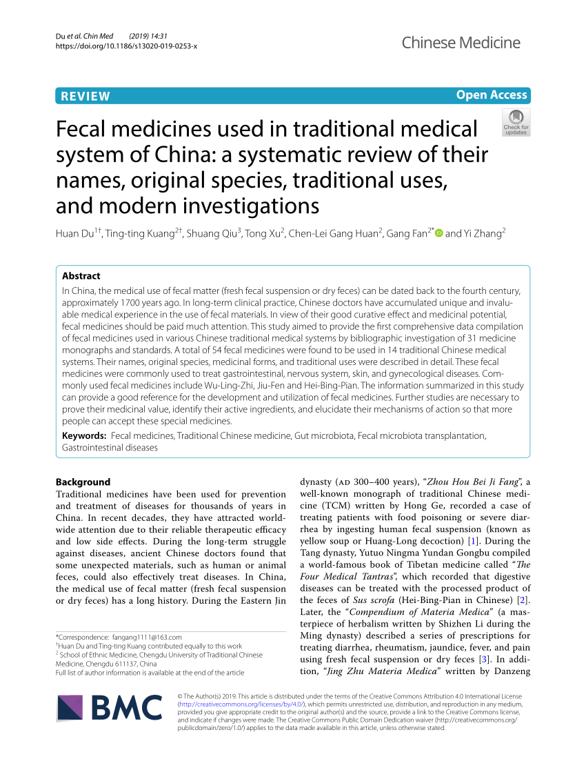 Pdf Fecal Medicines Used In Traditional Medical System Of