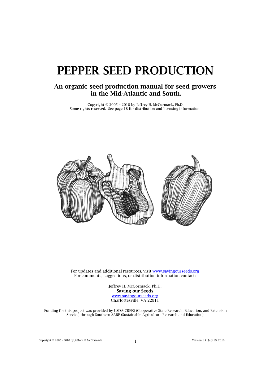 (PDF) PEPPER SEED PRODUCTION An organic seed production