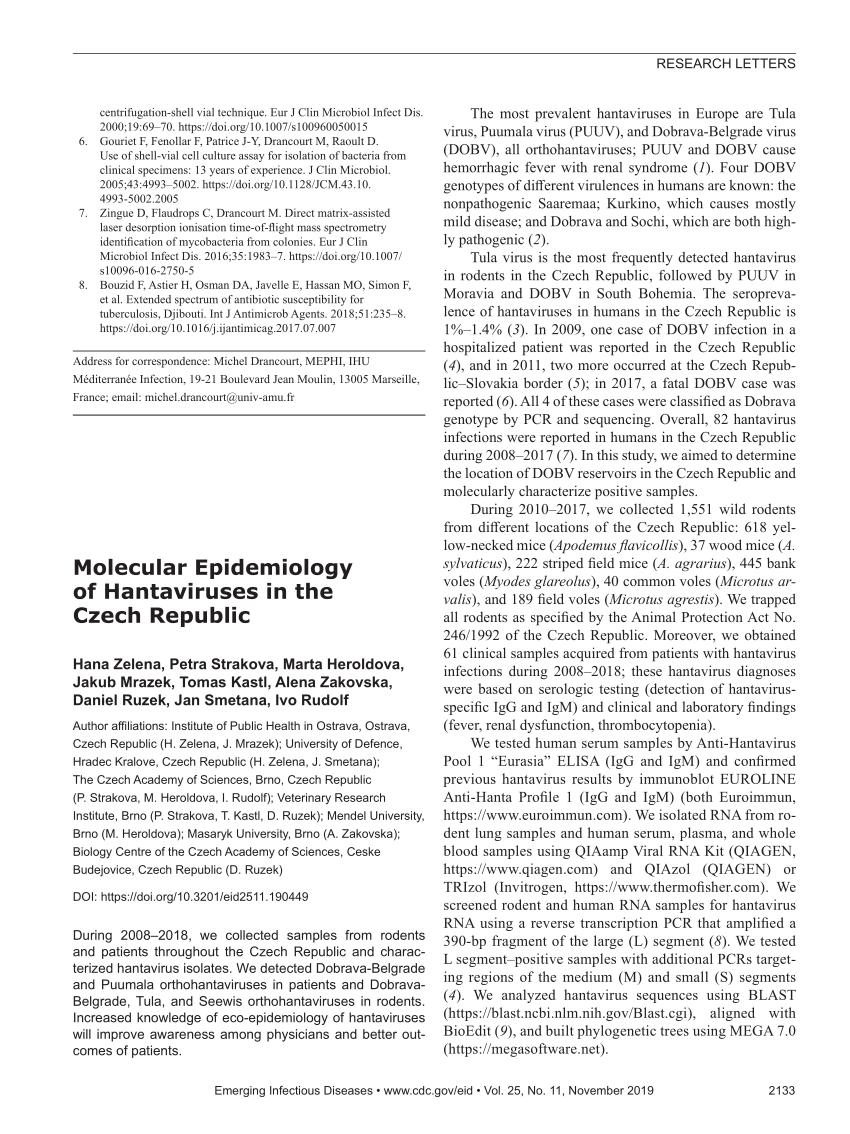 PDF) Molecular Epidemiology of Hantaviruses in the Czech Republic