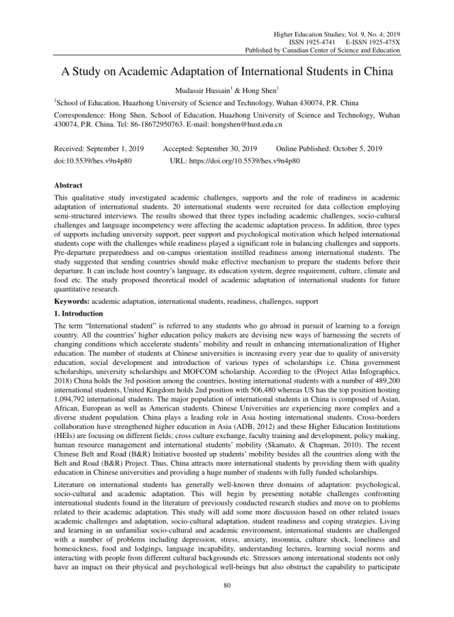 PDF) A Study on Academic Adaptation of International Students in China