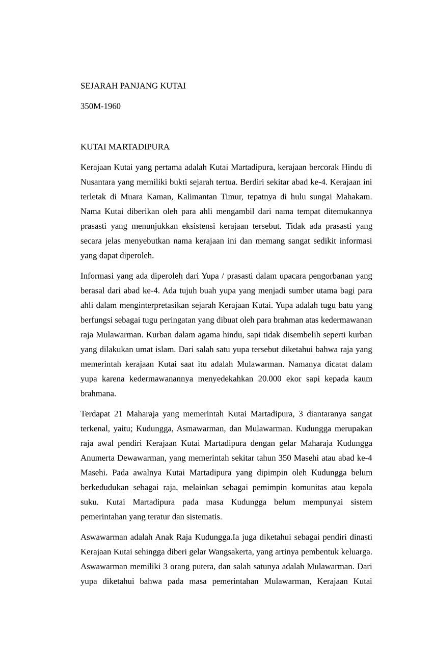 Makalah Sejarah Kerajaan Kutai : makalah, sejarah, kerajaan, kutai, Sejarah, Panjang, Kerajaan, Kutai