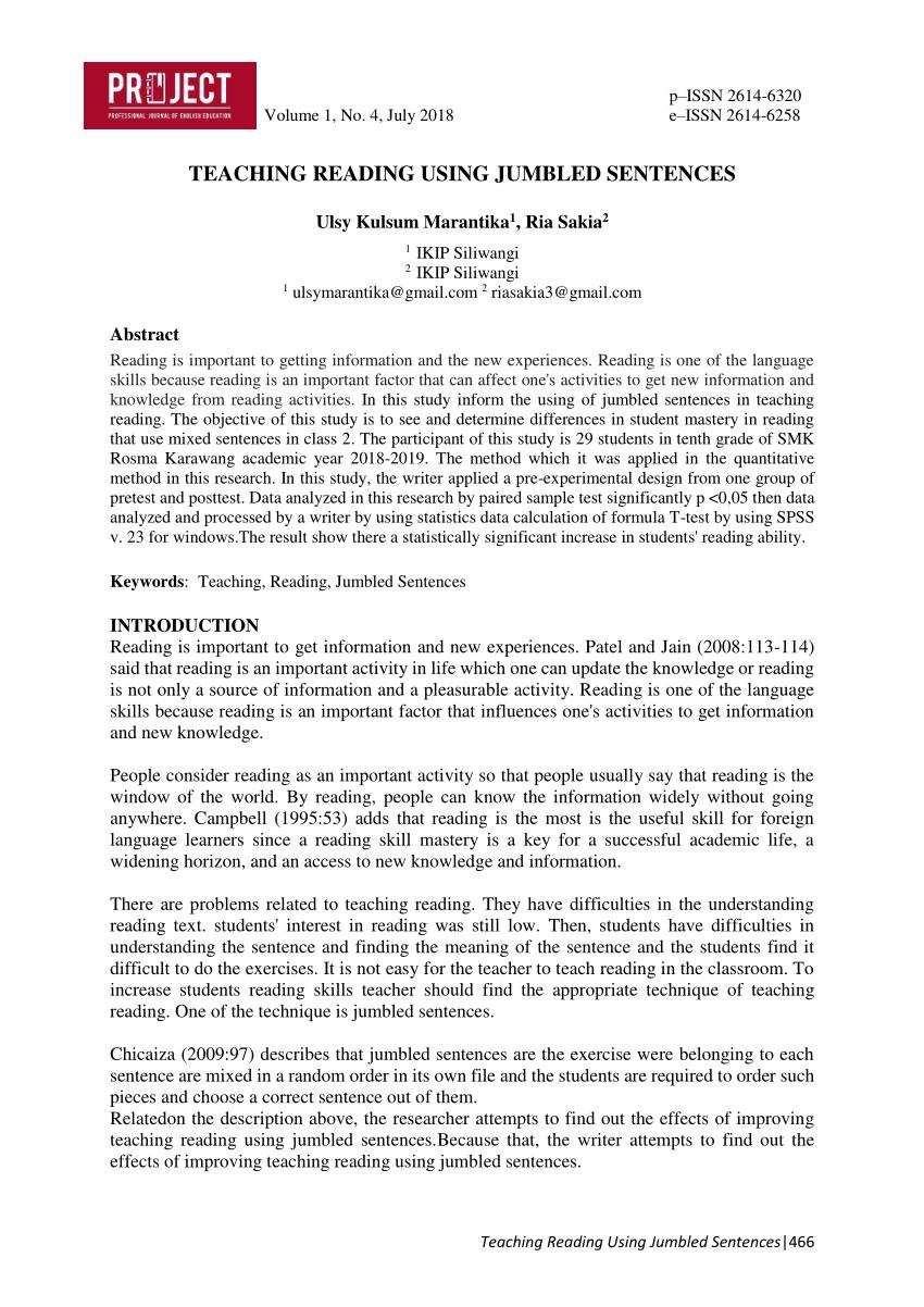 medium resolution of PDF) TEACHING READING USING JUMBLED SENTENCES
