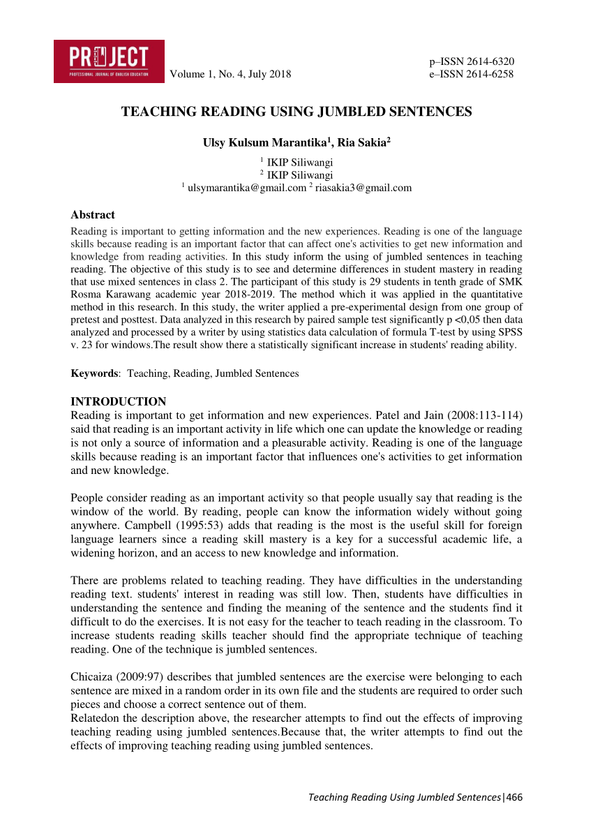 hight resolution of PDF) TEACHING READING USING JUMBLED SENTENCES