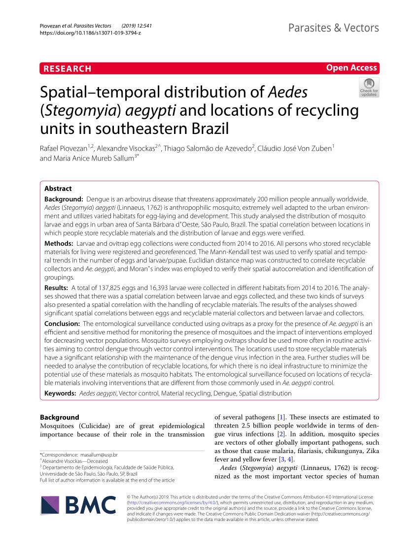 PDF) Spatial–temporal distribution of Aedes (Stegomyia) aegypti ...