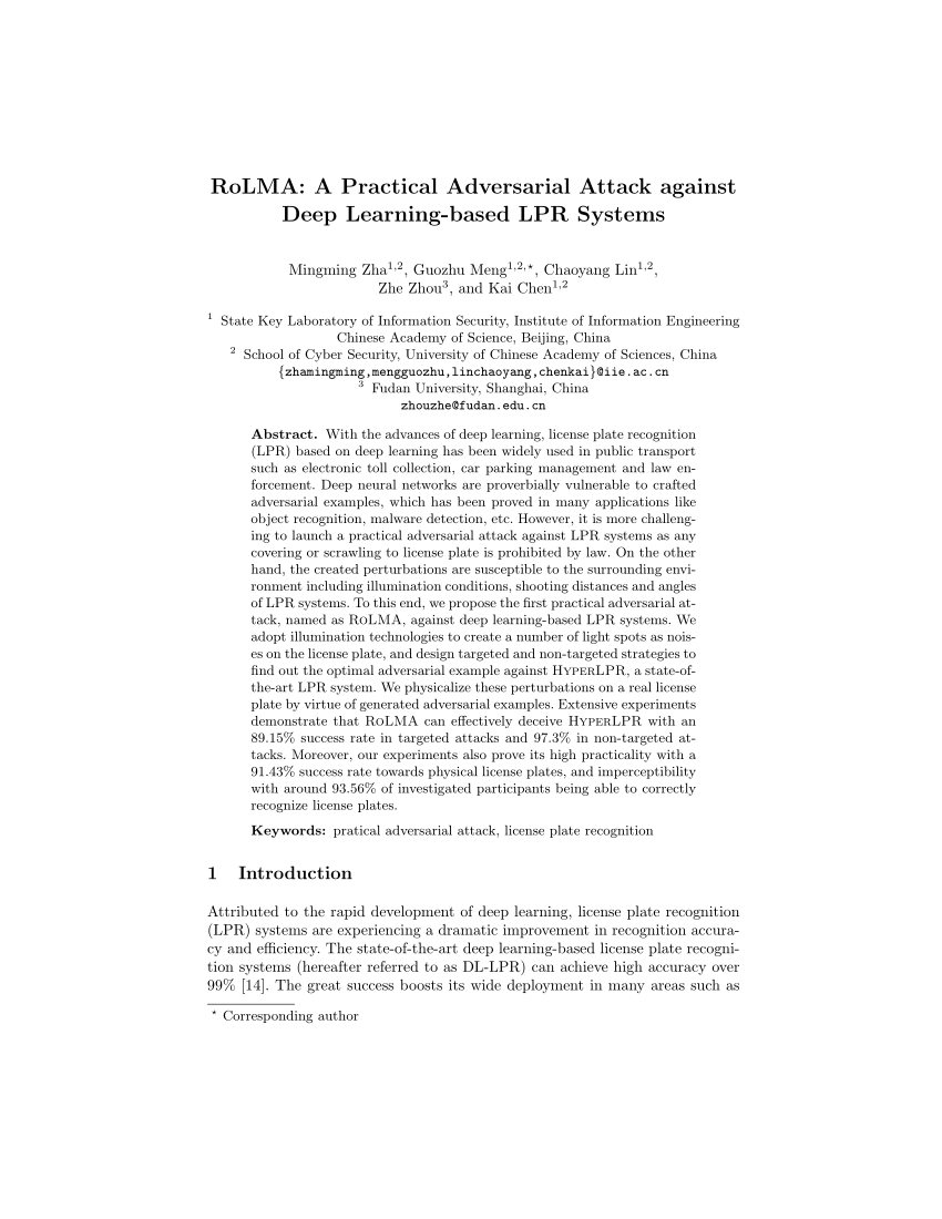 (PDF) RoLMA: A Practical Adversarial Attack against Deep Learning-based LPR Systems