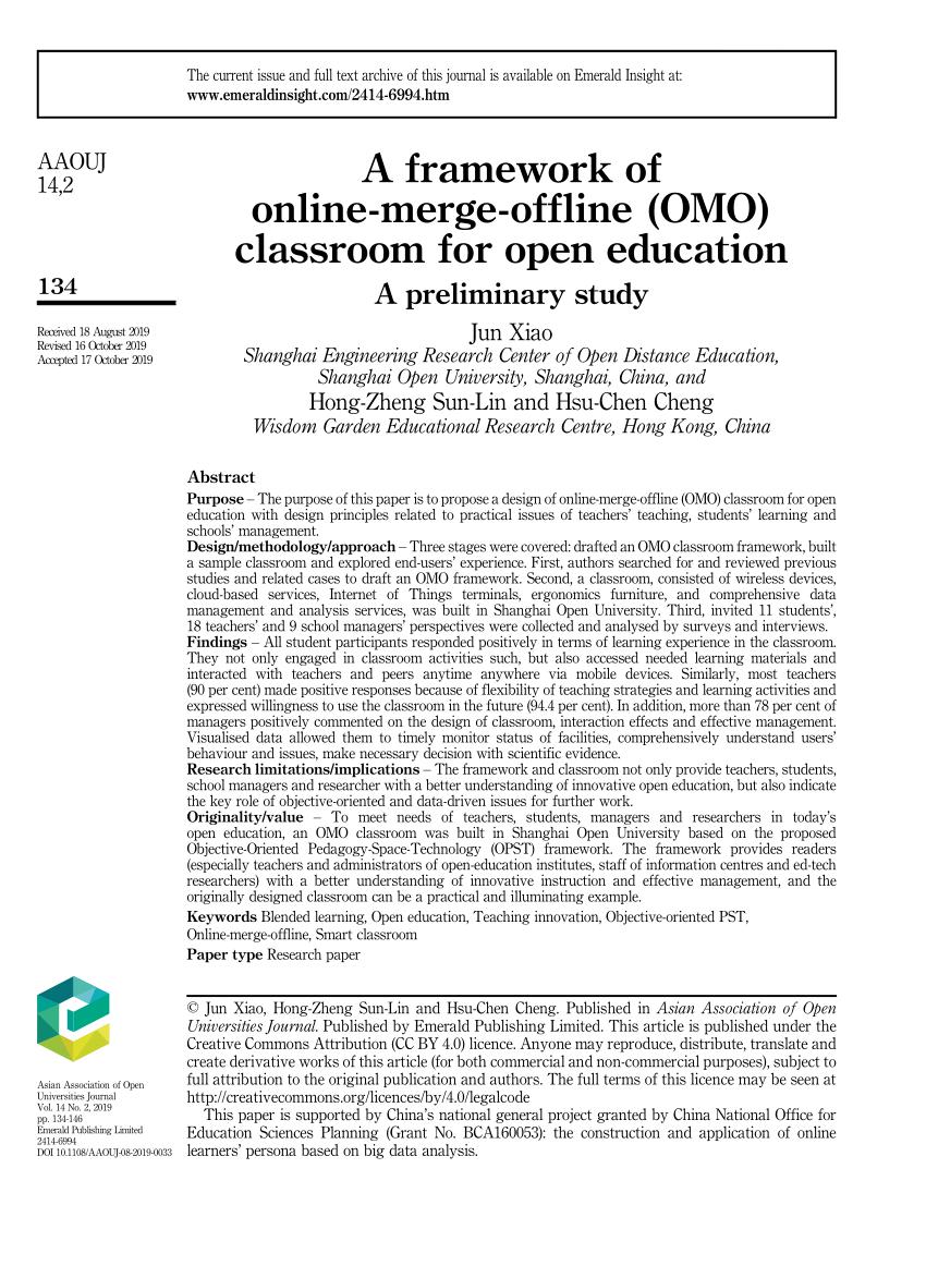 (PDF) A framework of online-merge-offline (OMO) classroom for open education: A preliminary study