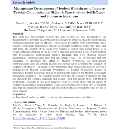 PDF) Management Development of Student Worksheets to Improve Teacher  Communication Skills : A Case Study Self-Efficacy and Student Achievement [ 1275 x 850 Pixel ]
