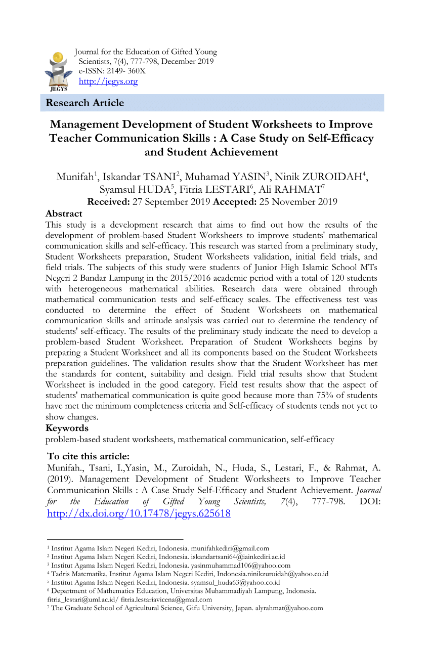 medium resolution of PDF) Management Development of Student Worksheets to Improve Teacher  Communication Skills : A Case Study Self-Efficacy and Student Achievement