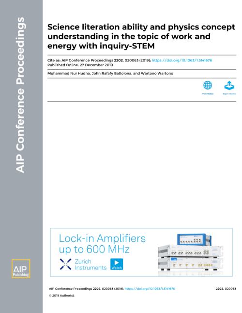 small resolution of PDF) Science literation ability and physics concept understanding in the  topic of work and energy with inquiry-STEM Science Literation Ability and  Physics Concept Understanding In The Topic of Work and Energy With