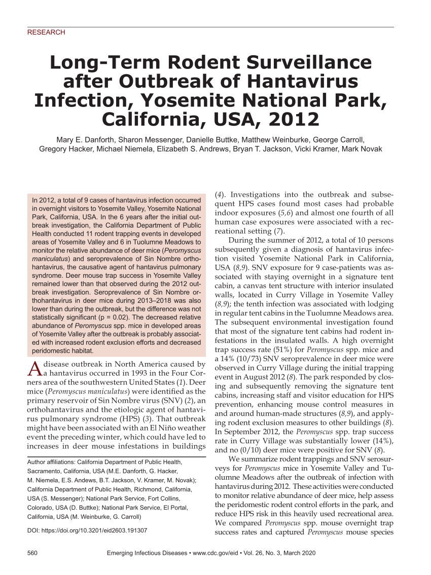 PDF) Long-Term Rodent Surveillance after Outbreak of Hantavirus ...