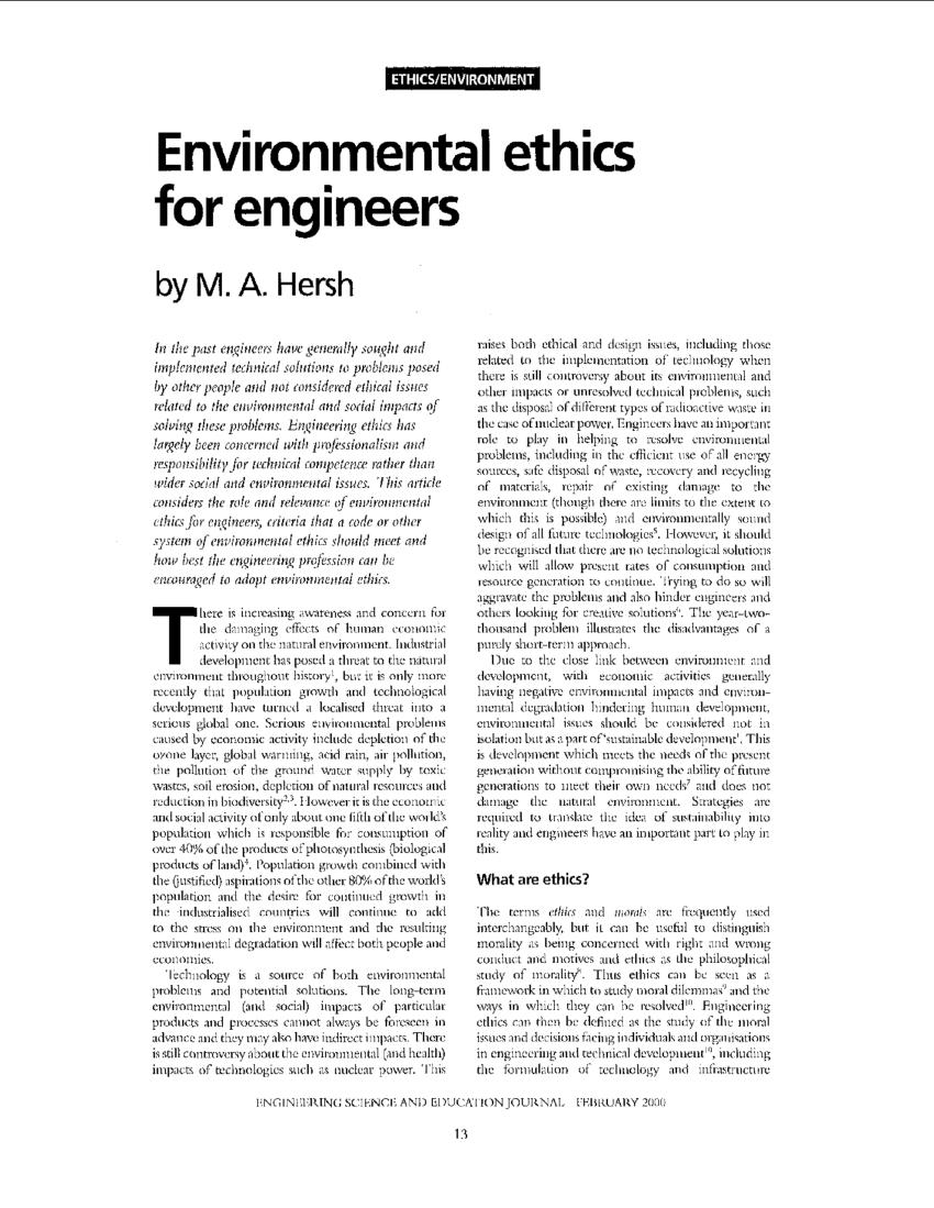 PDF Environmental Ethics For Engineers