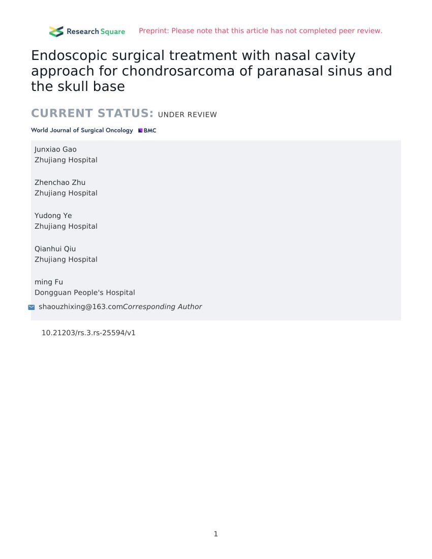 Chord Rade Do Au : chord, Endoscopic, Surgical, Treatment, Nasal, Cavity, Approach, Chondrosarcoma, Paranasal, Sinus, Skull