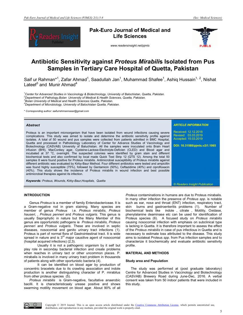 (PDF) Antibiotic Sensitivity against Proteus Mirabilis ...
