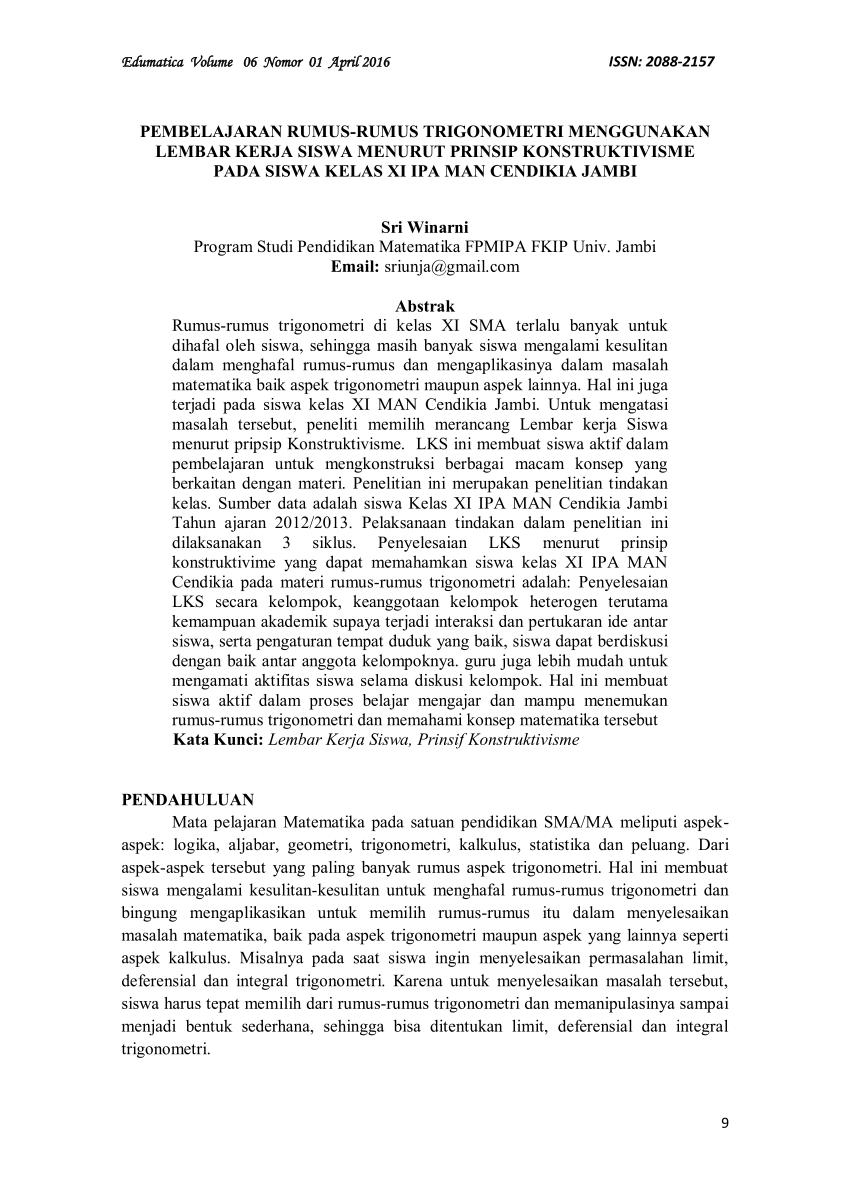 Contoh soal matematika kelas 1 sd kunci jawaban; Pdf Pembelajaran Rumus Rumus Trigonometri Menggunakan Lembar Kerja Siswa Menurut Prinsip Konstruktivisme Pada Siswa Kelas Xi Ipa Man Cendikia Jambi