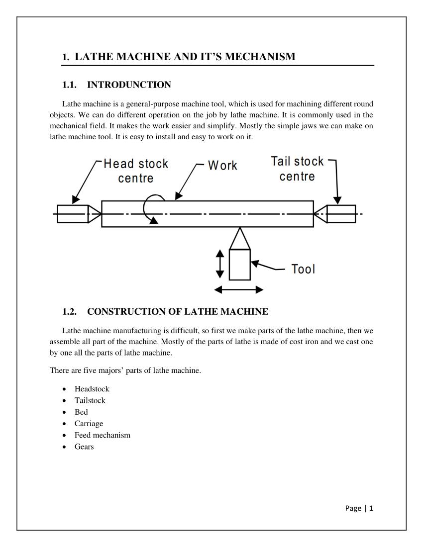 Lathe Machine Operations : lathe, machine, operations, LATHE, MACHINE, MECHANISM, INTRODUNCTION