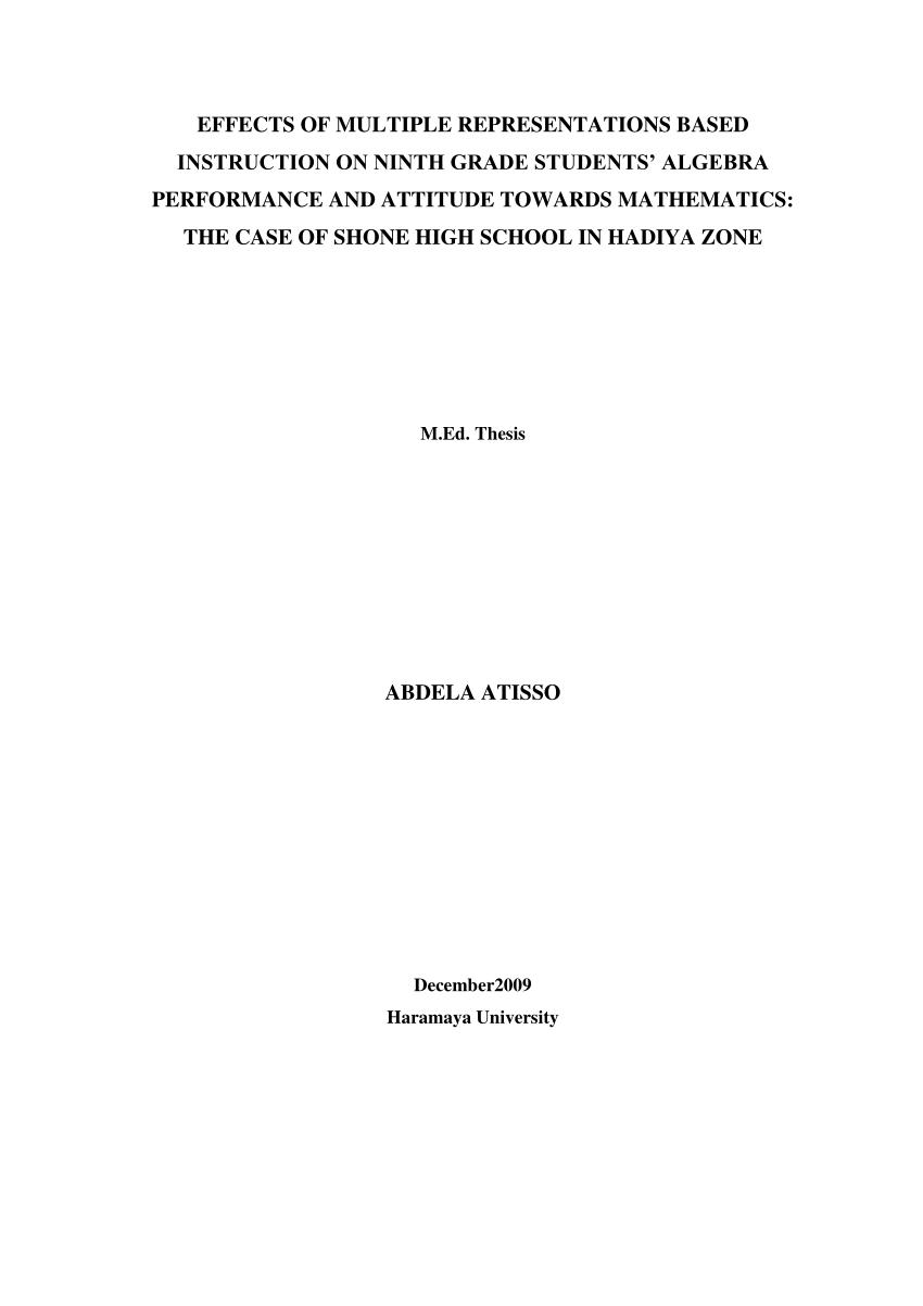 hight resolution of PDF) EFFECTS OF MULTIPLE REPRESENTATIONS BASED INSTRUCTION ON NINTH GRADE  STUDENTS' ALGEBRA PERFORMANCE AND ATTITUDE TOWARDS MATHEMATICS: THE CASE OF  SHONE HIGH SCHOOL IN HADIYA ZONE ABDELA ATISSO