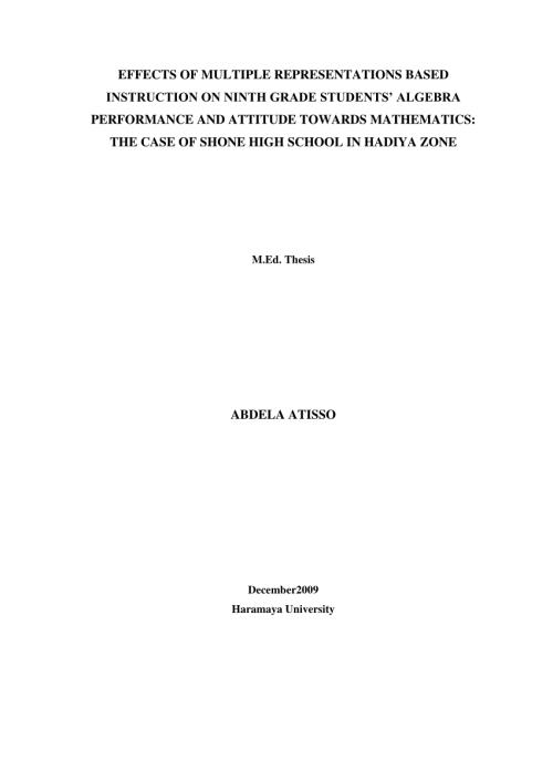 small resolution of PDF) EFFECTS OF MULTIPLE REPRESENTATIONS BASED INSTRUCTION ON NINTH GRADE  STUDENTS' ALGEBRA PERFORMANCE AND ATTITUDE TOWARDS MATHEMATICS: THE CASE OF  SHONE HIGH SCHOOL IN HADIYA ZONE ABDELA ATISSO