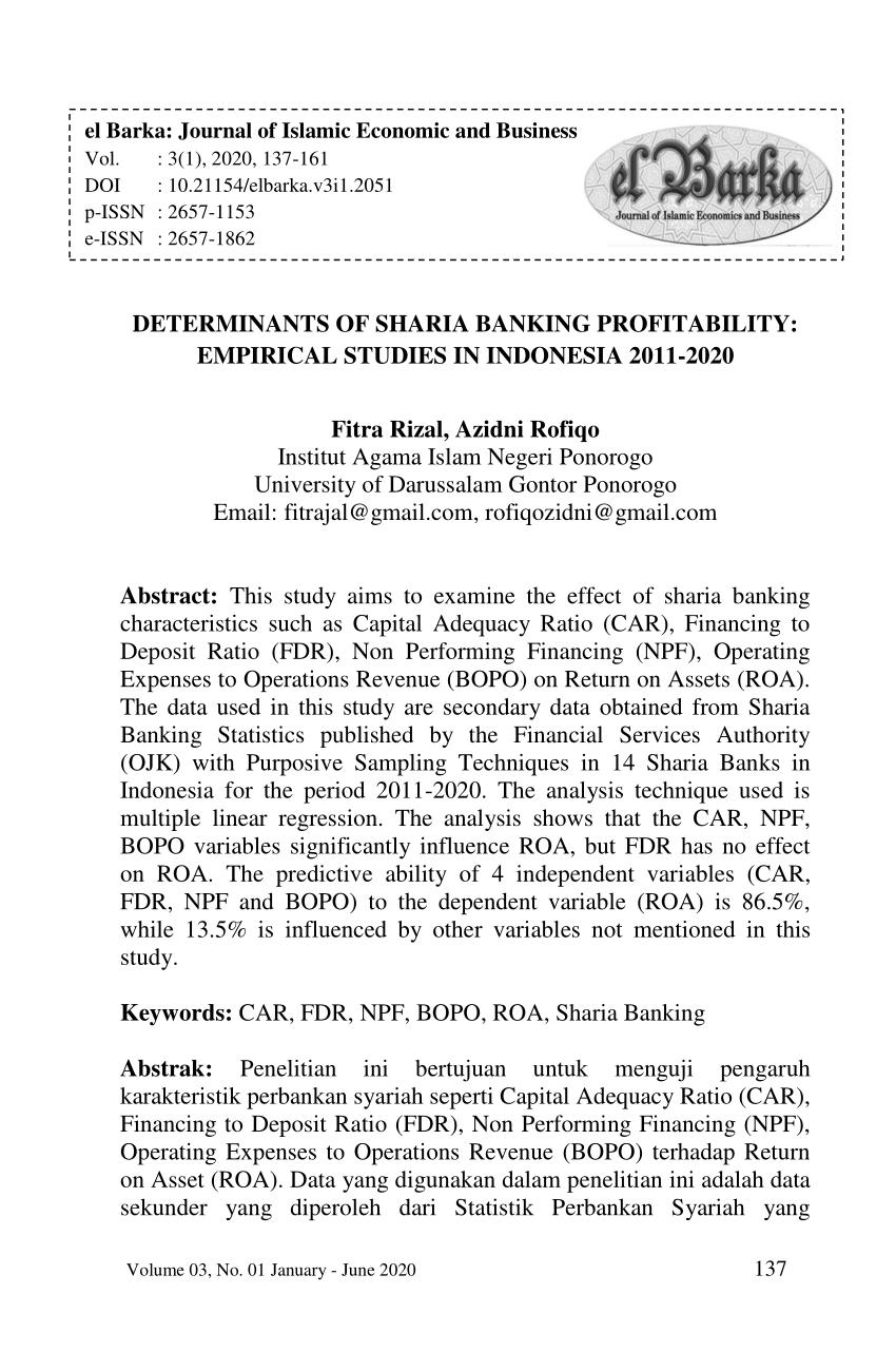 Return Of Asset Adalah : return, asset, adalah, DETERMINANTS, SHARIA, BANKING, PROFITABILITY:, Empirical, Studies, Indonesia, 2011-2020