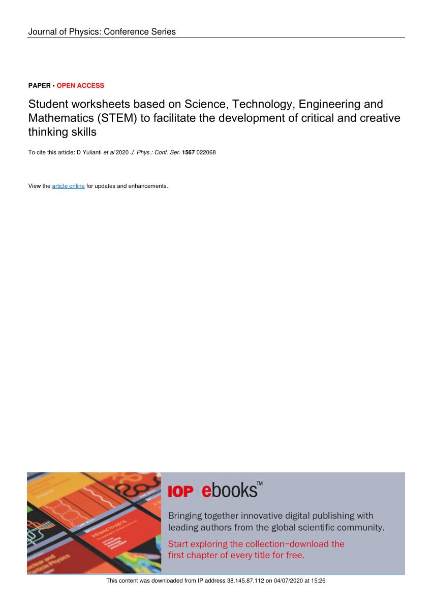 medium resolution of PDF) Student worksheets based on Science
