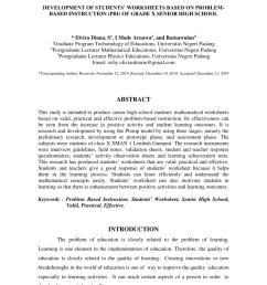 PDF) Development of Students' Worksheets Based on Problem-Based Instruction  (PBI) of Grade X Senior High School [ 1202 x 850 Pixel ]