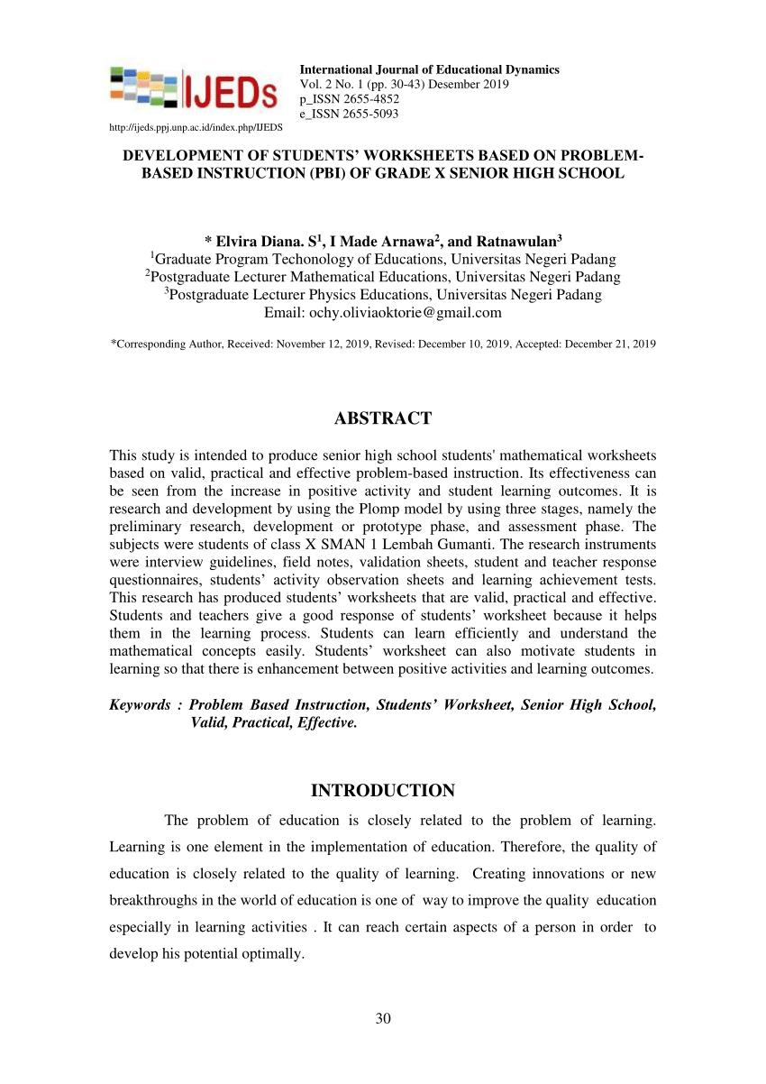 medium resolution of PDF) Development of Students' Worksheets Based on Problem-Based Instruction  (PBI) of Grade X Senior High School