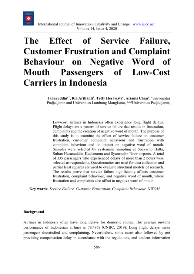 PDF) The Effect of Service Failure, Customer Frustration and