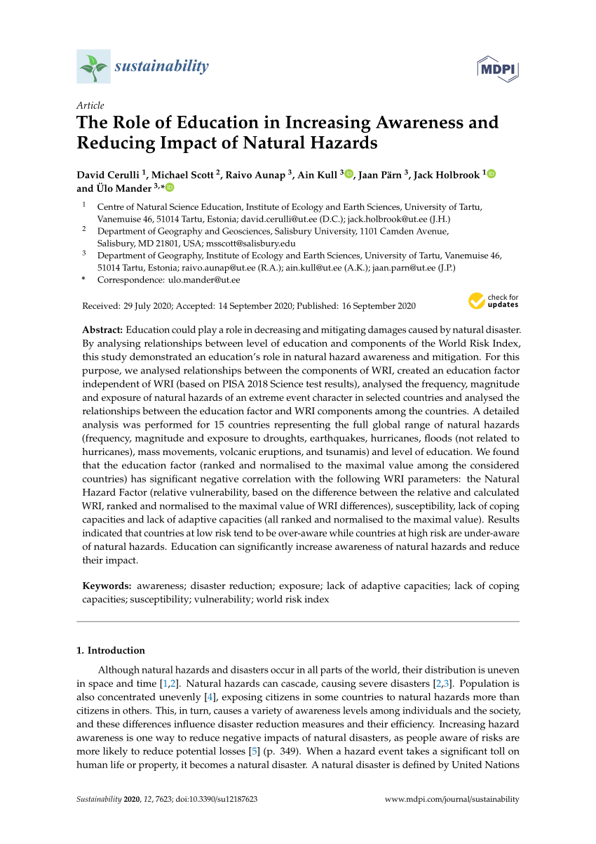 medium resolution of PDF) The Role of Education in Increasing Awareness and Reducing Impact of Natural  Hazards