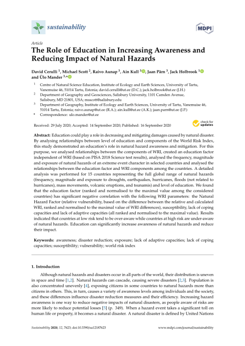 small resolution of PDF) The Role of Education in Increasing Awareness and Reducing Impact of Natural  Hazards