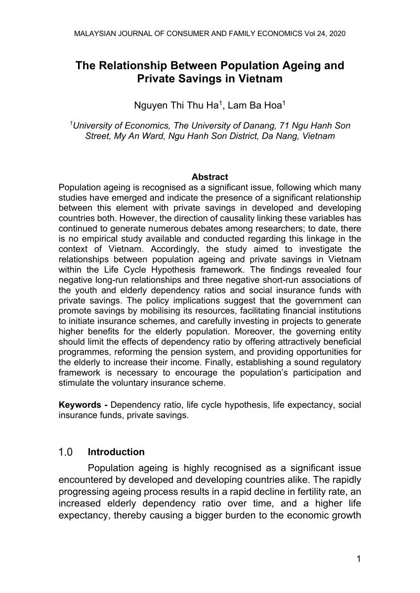 Dependency Ratio Menunjukkan : dependency, ratio, menunjukkan, Relationship, Between, Population, Ageing, Private, Savings, Vietnam