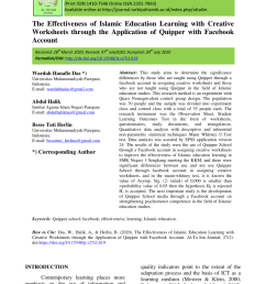 PDF) The Effectiveness of Islamic Education Learning with Creative  Worksheets through the Application of Quipper with Facebook Account [ 1202 x 850 Pixel ]