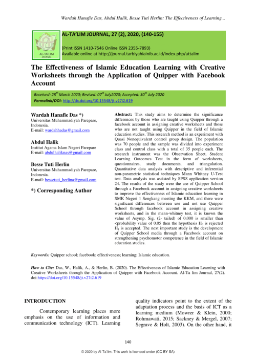 small resolution of PDF) The Effectiveness of Islamic Education Learning with Creative  Worksheets through the Application of Quipper with Facebook Account