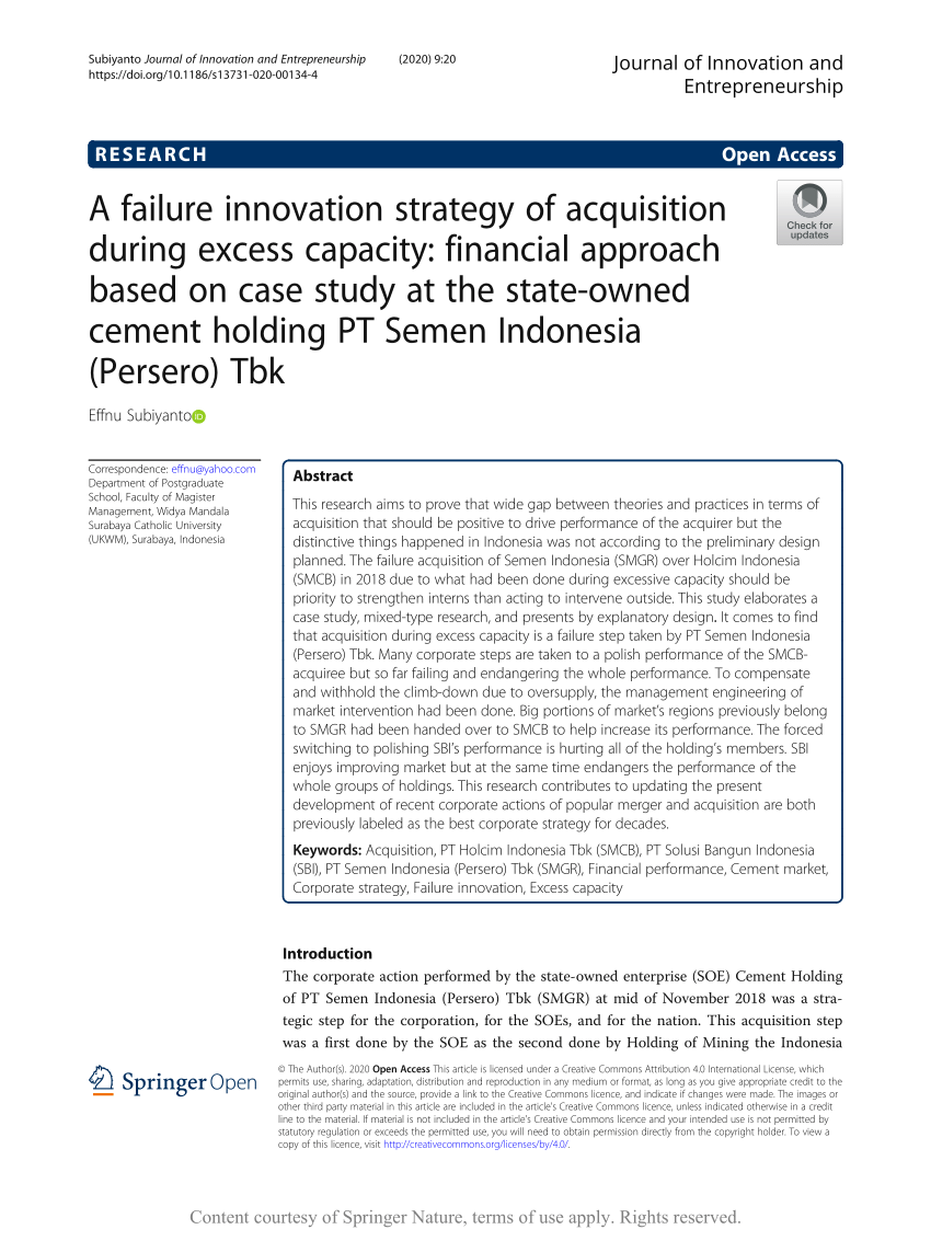 Smgr Yahoo Finance : yahoo, finance, Failure, Innovation, Strategy, Acquisition, During, Excess, Capacity:, Financial, Approach, Based, Study, State-owned, Cement, Holding, Semen, Indonesia, (Persero)